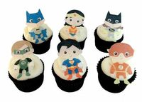 24 EDIBLE SUPERHERO Cupcake Toppers - Theme Birthday Party Decorations