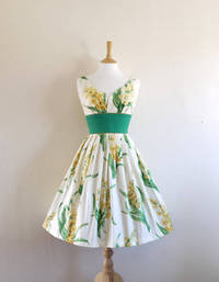 Yellow Hyacinth Print Sweetheart Prom Dress - Made by Dig For Victory from etsy.com