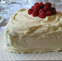 Lemon chiffon cake with lemon curd and raspberry filling