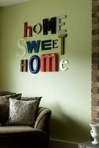 """Home Sweet Home"" - mismatched letter in a variety of color."