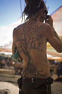 Tree tattoo. Not all illustrations are done on paper.