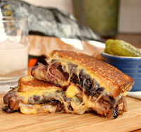 Grilled Cheese with Roast Beef and Sweet Red Caramelized Onions