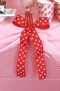 red and white table cloth tie up!
