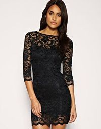 slash neck lace body-conscious dress by ASOS