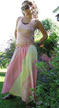 Swirly Skirt Hand Dyed with Candy Stripes Free Waist in Reclaimed Material with ...