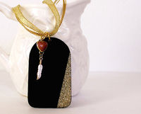 Chalkboard Necklace with feather and glitter