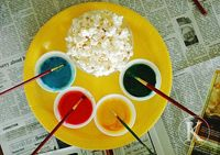 popcorn painting with food coloring