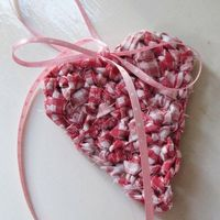 crochet upcycled fabric heart