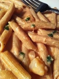 Penne, shrimp, tomato cream sauce... Ohmygosh amazing! And not bad for you!