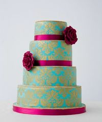 Reminiscent of beautiful vintage fabrics this cake has a sophisticated almost royal air-- from Bobbette & Belle artisanal pastries
