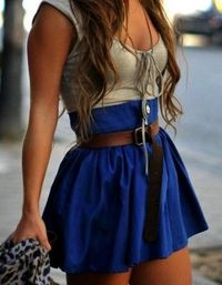 girly skirt and rugged belt