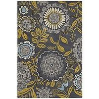 yellow and grey rug by Amy Butler