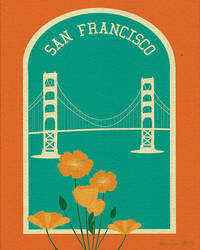8 x10 print San Francisco Golden Gate Bridge and Poppies