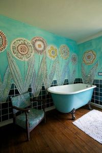 mosaic with buttons and tiles! LOVE!