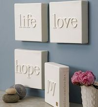 .canvas + wood letters, then paint the whole thing.