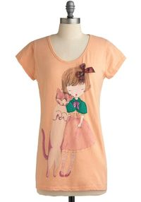 cat and girl tshirt