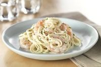 Creamy Shrimp Alfredo.. mmmm.... But we use Philadelphia 1/3 fat instead of cream cheese.