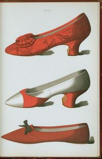 Brocade shoe; red and white satin shoe; shoe belonging to Rosa Anderson, a fair maid of Perth, whose elopement created a great sensation in bygone days in the town, to whose Council her husband belonged. 1900.