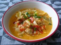 Easy Paleo Crock Pot Chicken Curry with Peppers and Cabbage