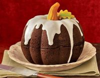 pumpkin cake from two bundt cakes.