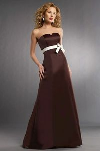 Strapless satin bridesmaid dress with natural waist