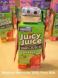 Candy/Juice Robot ... party favor, classroom treat for party, etc. #kids #party #school #birthday #robot