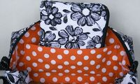 Black and White Sketched Flowers Large Box bag by Piddleloop, $40.00