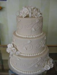Wedding, Cake, Roses, Ivory, Fondant, Round, Bow, Sugar