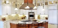 lighted cabinets, backsplash I like but put dark granite on the countertop to match dark insets