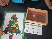 Roll a Christmas tree! Roll a dice and put colored buttons on the tree!