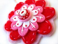 Felt Flower Pendant Red Pink and White by PoorRobin on Etsy, $16.00