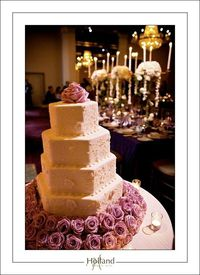 Hexagon Floral Cake with Purple Roses #wedding