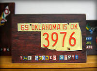 Oklahoma License Plate Map Artwork Miniature Size from etsy.com