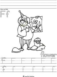 Letter F Flower lesson plan printable activities: poster, handwriting worksheets, word search and more for preschool, K and early grades.