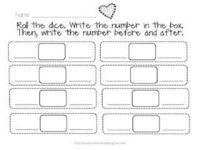 Roll the dice...write the number, then the number before and after!