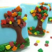 the decorated cookie: the leaves are afallin... from little tree cookies