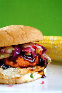 The Curvy Carrot Salmon Burgers with Barbeque Hoisin Sauce