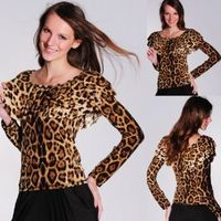 LOCOMO Sexy Women Leopard Print Dotted Cocktail Clubwear Leisure Long Sleeve Tank Top BD213 LPB One Size Black: Clothing