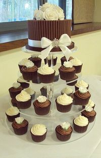 Vanilla and Chocolate Sugar Rose Wedding Cupcake Tower