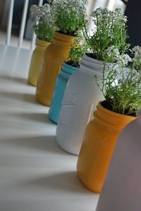 Spray Painted Mason Jars. Great idea for an herb garden