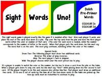 Sight Words Uno Game! (Dolch Pre-Primer Words)
