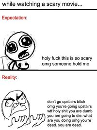 While watching a scary movie...