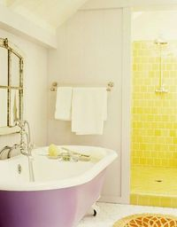 Yellow shower, purple tub