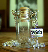 Glass Vial Necklace Glass Bottle Necklace Make a Wish Necklace with Dandelion Seeds - 26 inches from etsy.com