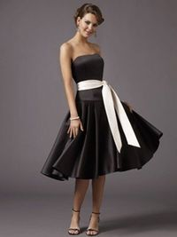 Bridesmaid dresses. Black with different color neon ribbon around waist! :)