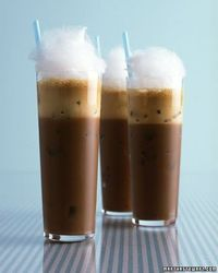 ice coffee frappe with cotton candy.
