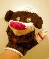 sock monkey gloves