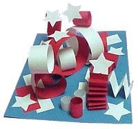 A patriotic kindergarten sculpture lesson: great for practice with folding, curling, gluing, and of course learning about 3D sculpture.