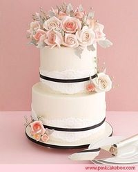 #Pink #Rose & #Ivory #Lace #Wedding #Cake