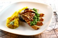 Canadian Chimichurri Pork Cheek with Kabocha Parsnip Pure